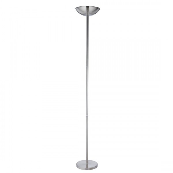Pole light satin silver uplighter with inline sliding for Uplighter floor lamp dimmer switch
