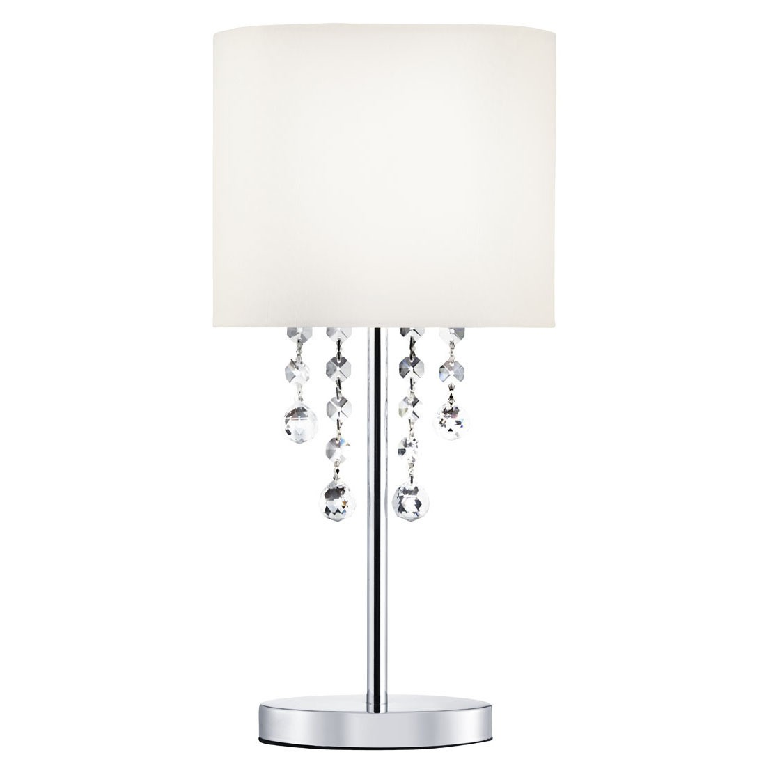 Nina chrome 8 light fitting with crystal beads white fabric nina chrome table lamp with crystal beads white fabric shade 2051cc geotapseo Gallery