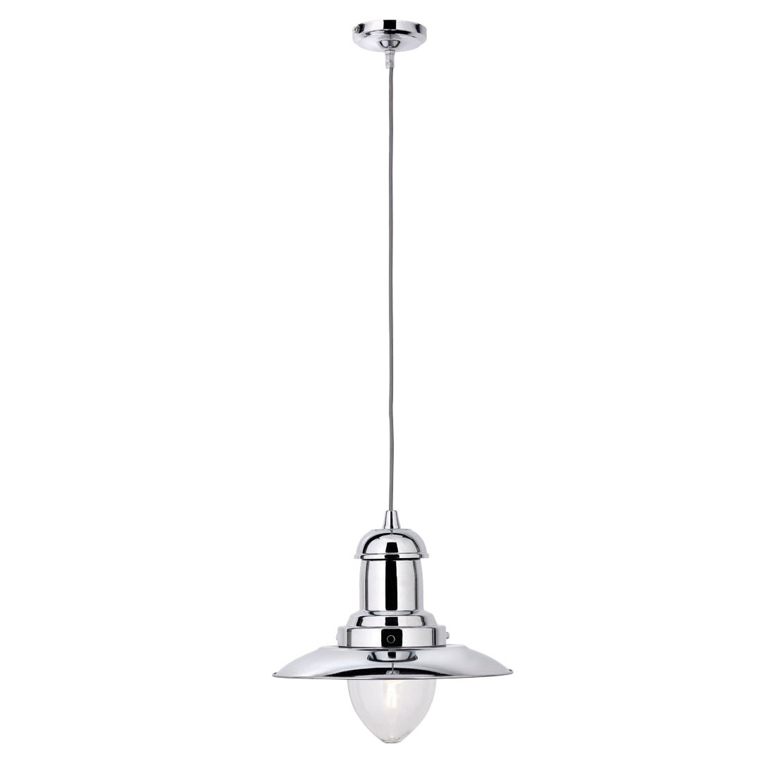 FISHERMAN CHROME CEILING LIGHT WITH CLEAR GLASS SHADE 4301cc
