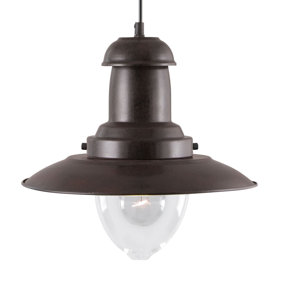 Fisherman rustic brown ceiling light with clear glass - Clear glass ceiling light ...