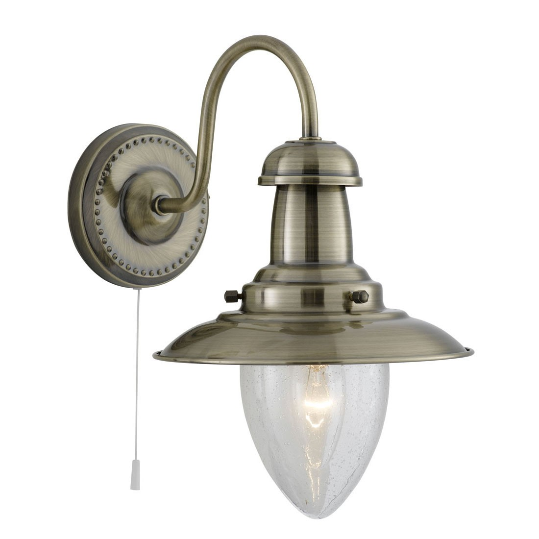 FISHERMAN ANTIQUE BRASS 3 LIGHT FITTING WITH OVAL SEEDED GLASS SHADES 5333-3ab Stanways ...