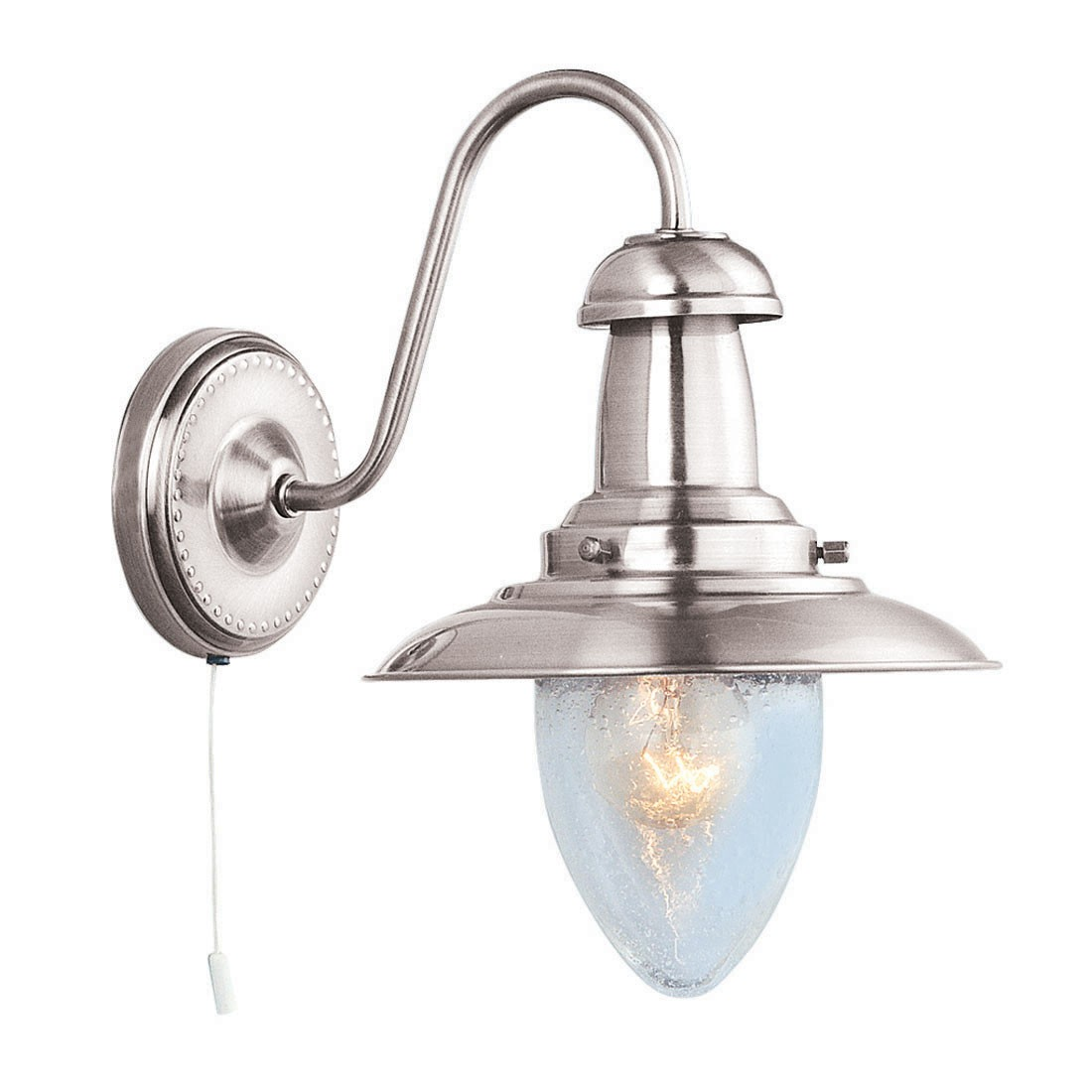 FISHERMAN SATIN SILVER CEILING LIGHT WITH CLEAR GLASS SHADE 4301ss Stanways Stoves and ...