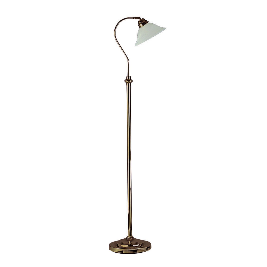 Traditional floor lamp - Antique Brass Floor Lamp With Marble Glass Shade 9122ab