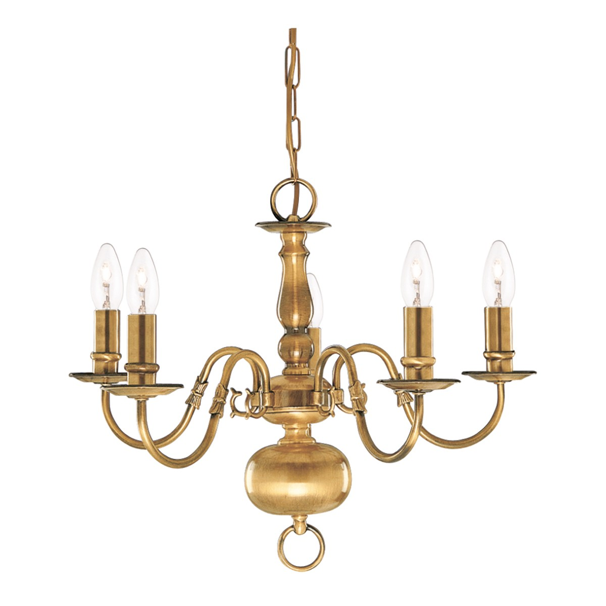 Flemish solid antique brass 5 light chandelier with metal candle flemish solid antique brass 5 light chandelier with metal candle covers 1019 5ab stanways stoves and lights arubaitofo Gallery