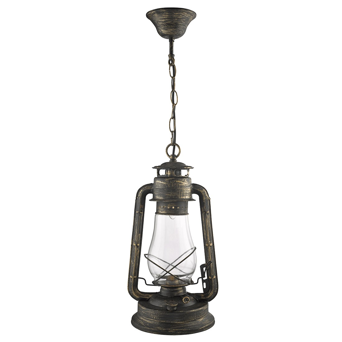 HURRICANE LANTERN PENDANT LIGHT IN BLACK GOLD WITH CLEAR FUNNEL GLASS 4842 1BG