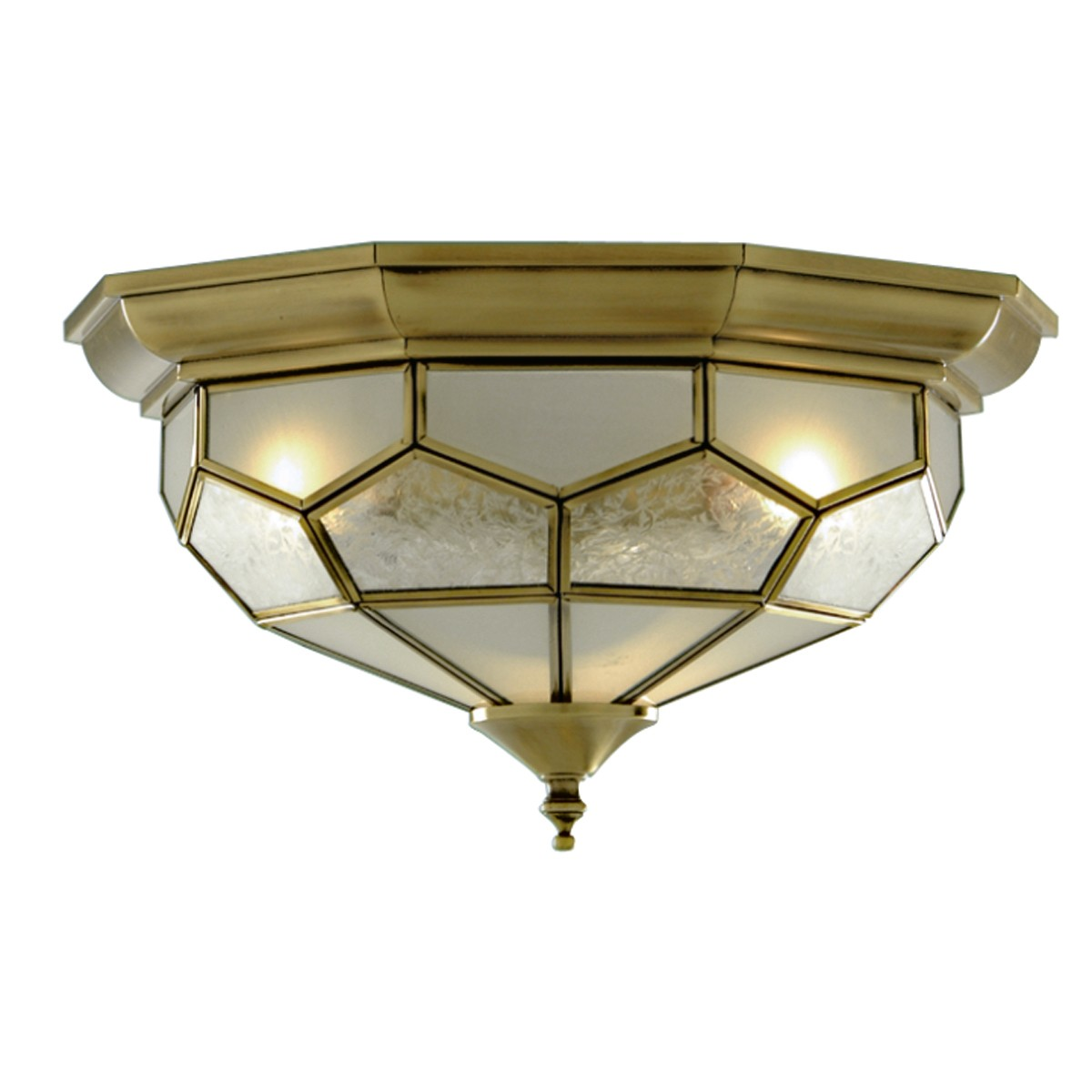 Windsor antique brass 2 light flush fitting with alabaster glass antique brass flush light with clear frosted and sanded glass 1243 12 mozeypictures Images