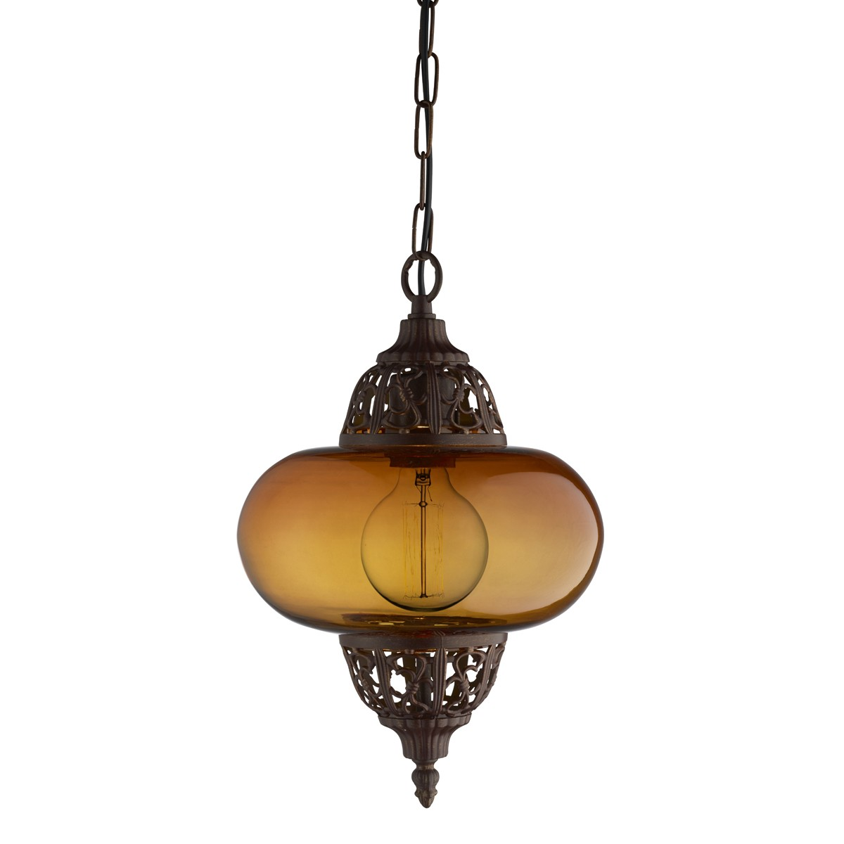 MOROCCAN COPPER PENDANT LIGHT WITH AMBER GLASS SHADE 1421AM