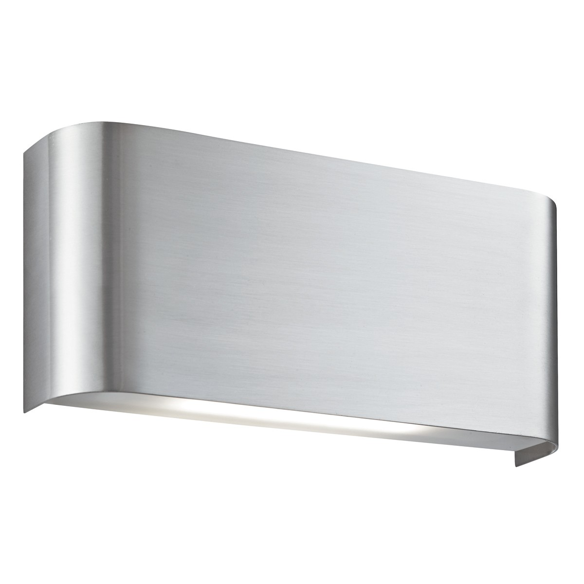 Satin silver 20 led oblong curved wall light with up for Curved wall