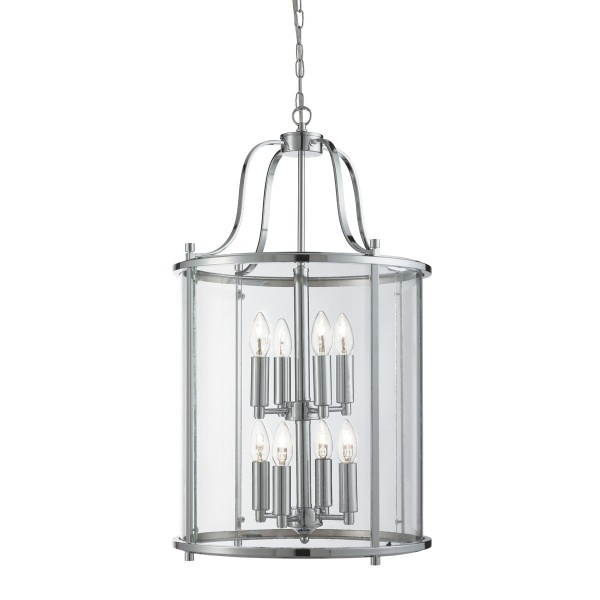 VICTORIAN LANTERN CHROME 8 LIGHT CEILING FITTING WITH CLEAR GLASS PANELS 3068 8CC