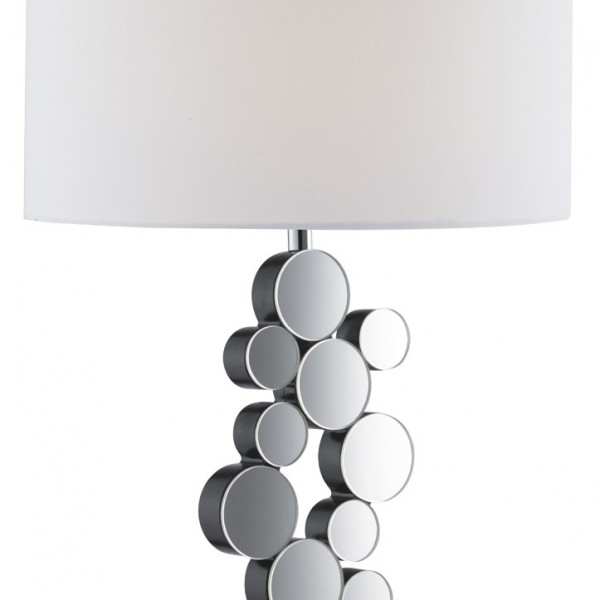 CHROME MIRRORED CIRCLES TABLE LAMP WITH ROUND WHITE FABRIC SHADE 3572CC