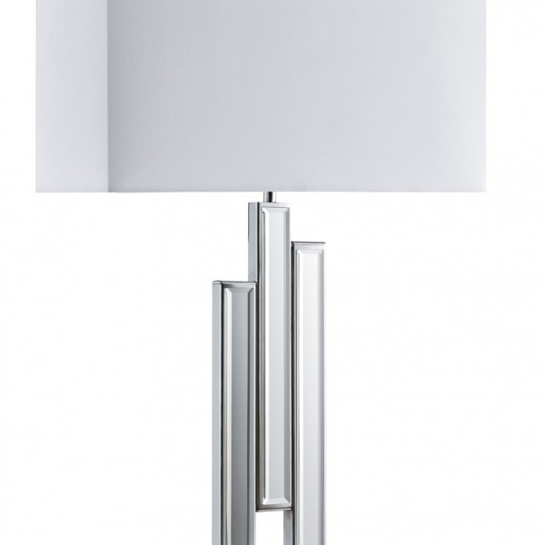 CHROME MIRRORED COLUMNS TABLE LAMP WITH OBLONG WHITE FABRIC SHADE 3583CC