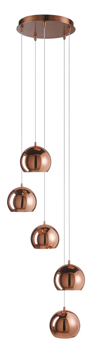 domas copper 5 light multi drop pendant with dome shades. Black Bedroom Furniture Sets. Home Design Ideas