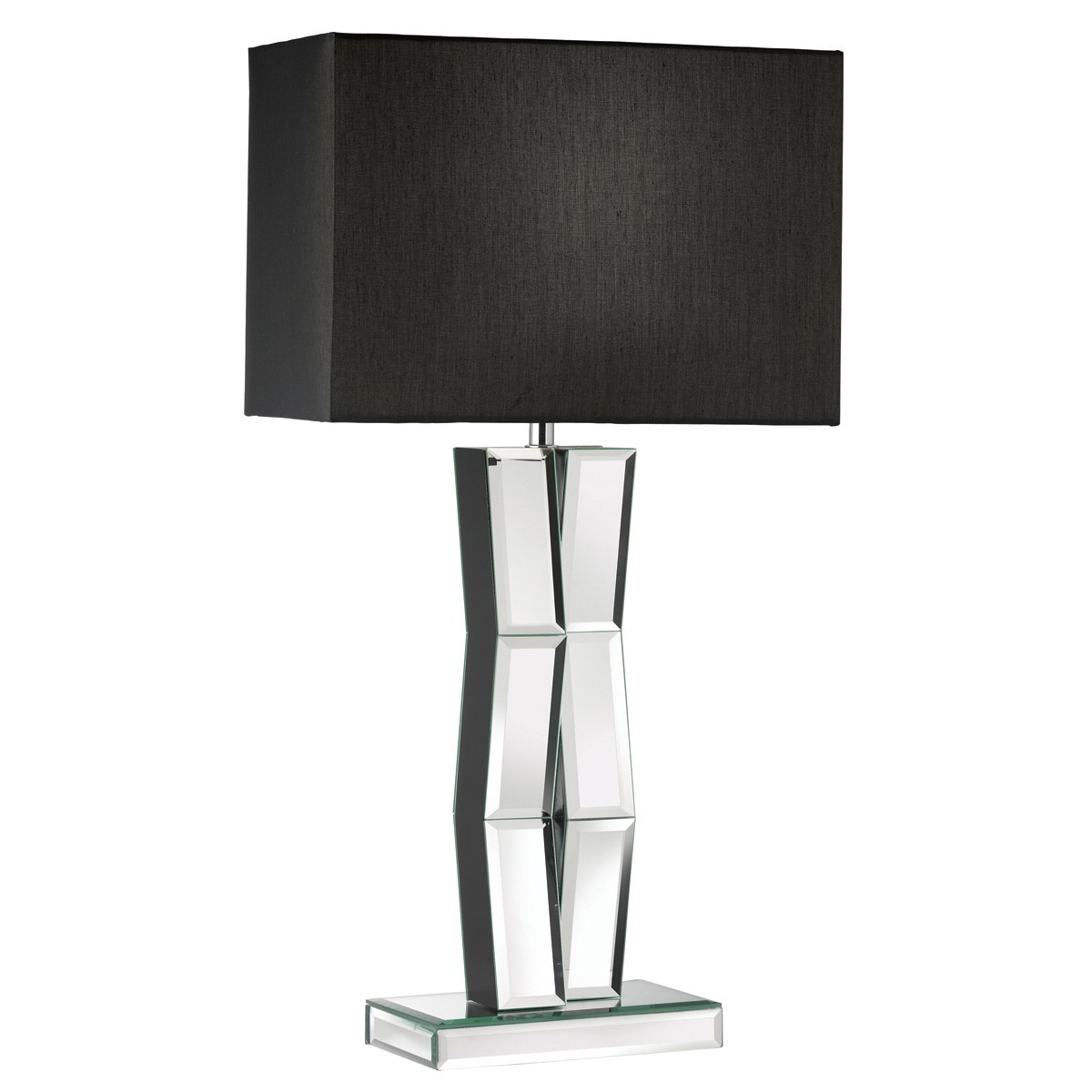 Table lamps product categories stanways stoves and lights mirrored table lamp with black oblong faux silk shade 5110bk geotapseo Images
