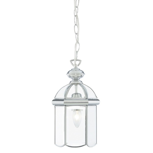 CHROME LANTERN WITH POLISHED BEVELLED DOMED GLASS SHADE 5131CC