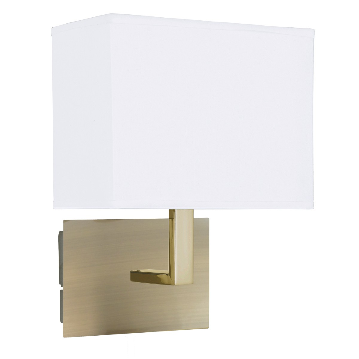 ANTIQUE BRASS WALL LIGHT WITH WHITE RECTANGULAR FABRIC SHADE 5519AB Stanways Stoves and Lights