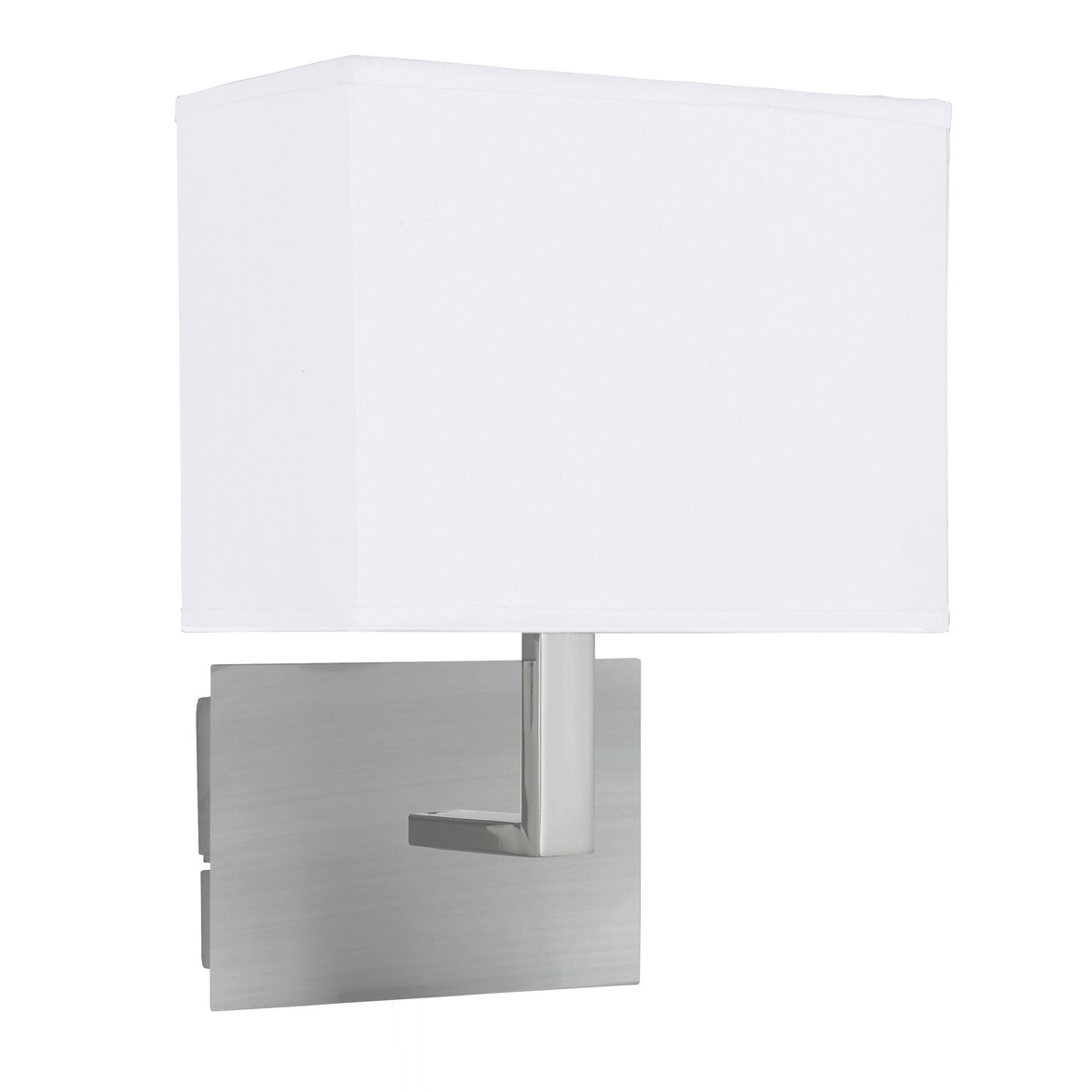SATIN SILVER WALL LIGHT WITH WHITE RECTANGULAR FABRIC SHADE 5519SS Stanways Stoves and Lights