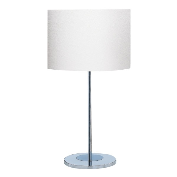 CHROME ROUND BASE TABLE LAMP WITH WHITE FABRIC SHADE 6550CC 1