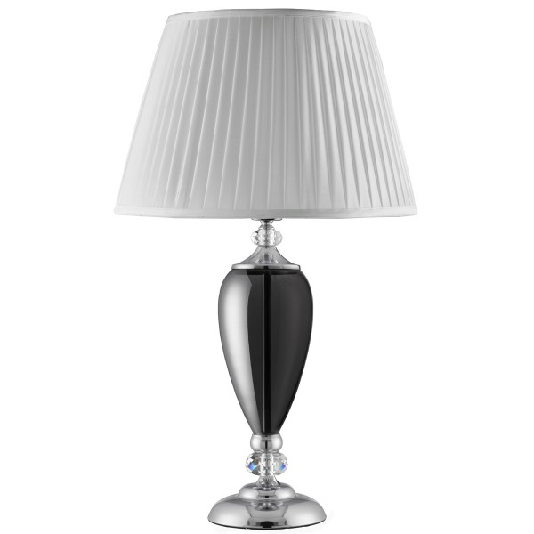 chrome table lamp with smokey glass base white pleated shade. Black Bedroom Furniture Sets. Home Design Ideas