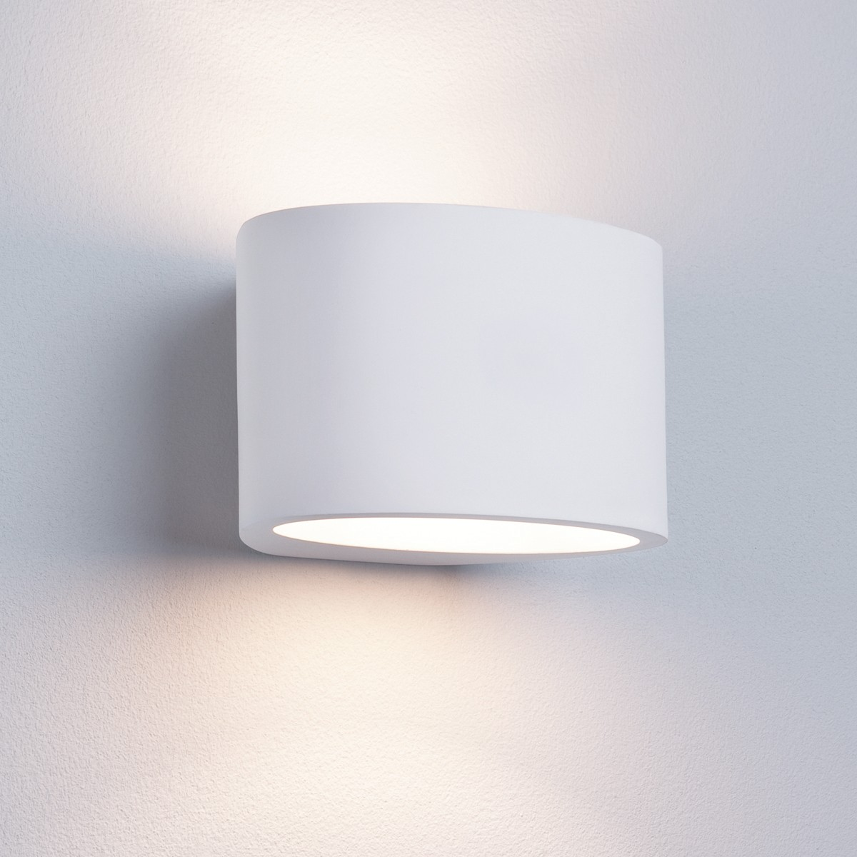 Contemporary Plaster Wall Lights : GYPSUM WHITE PLASTER OVAL LIGHT WHICH IS PAINTABLE 8721 Stanways Stoves and Lights