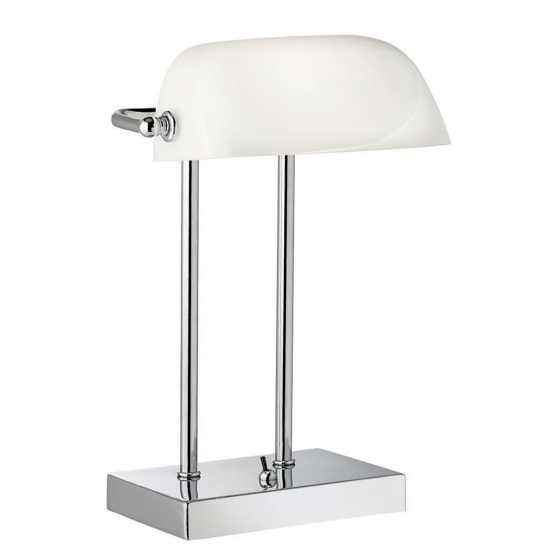 White Desk Lamp : Bankers style chrome table lamp with white glass shade