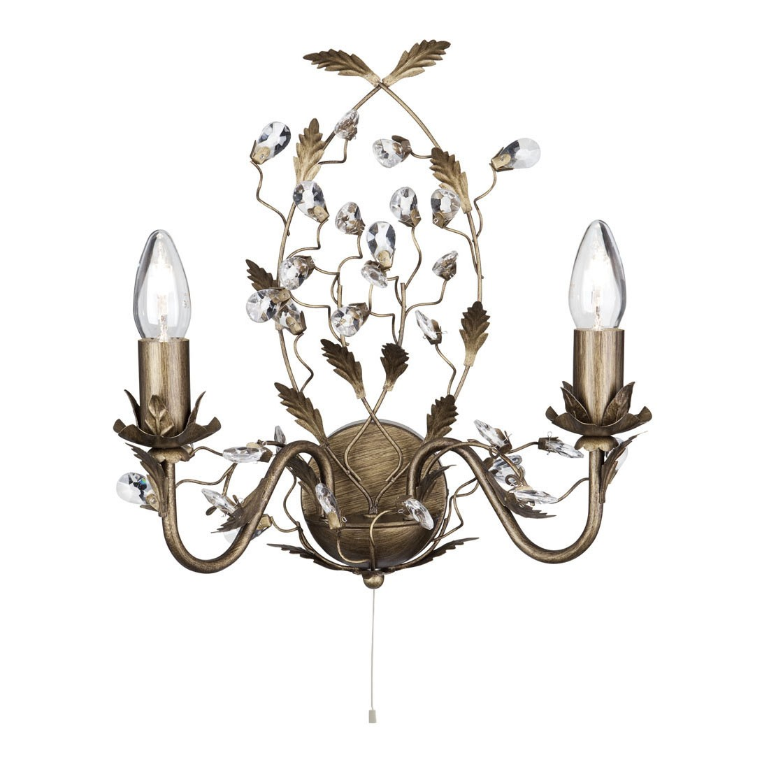 Almandite Brown Gold Finish 2 Light Wall Bracket With Crystal Dressing 2492 2br Stanways Stoves And Lights