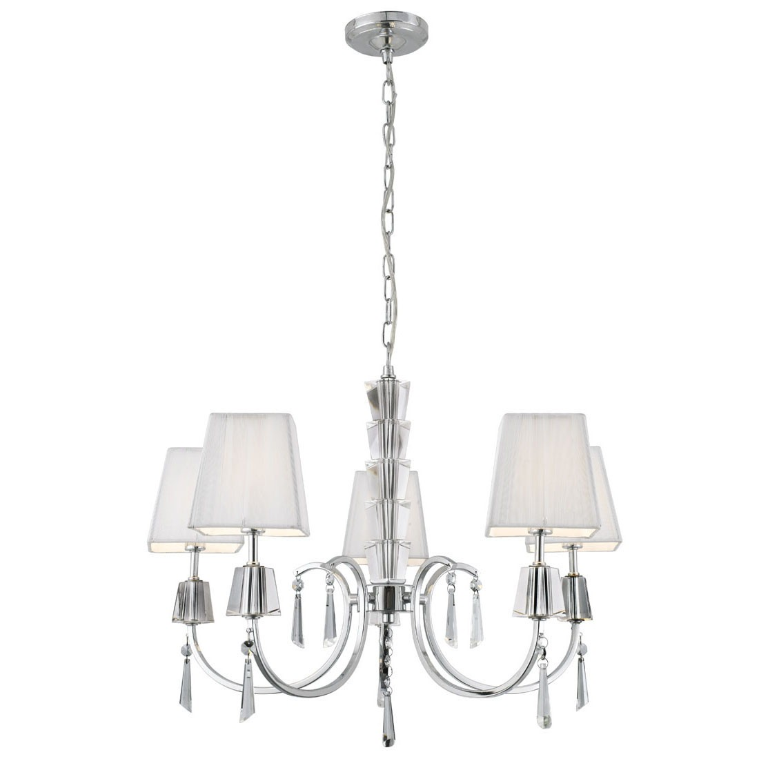 Searchlight Electric Sculptured Ice 8083 3cc Ceiling Light: HIBISCUS CHROME 5 LIGHT SEMI-FLUSH WITH CRYSTAL PETALS