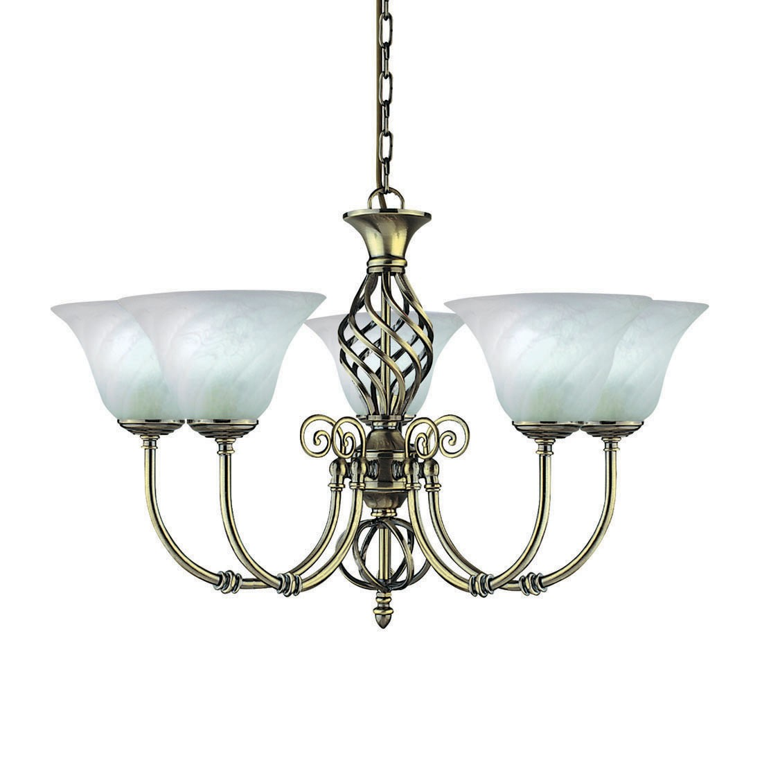 Searchlight Electric Sculptured Ice 8083 3cc Ceiling Light: ANDRETTI ANTIQUE BRASS 8 LIGHT FITTING WITH CREAM SHADES