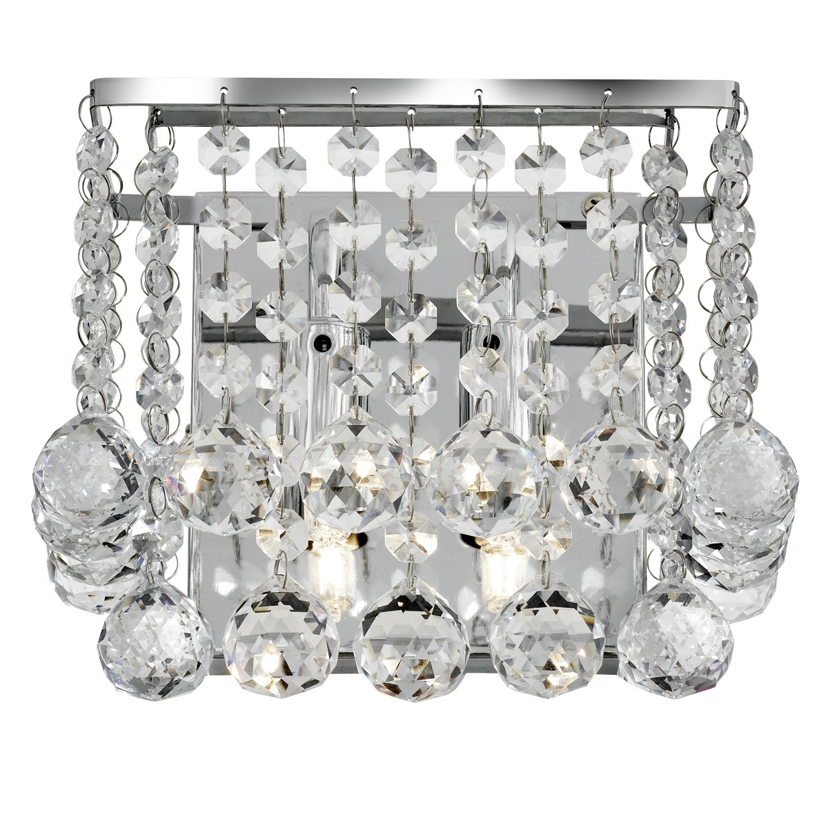 Hanna Chrome 2 Light Square Wall Bracket With Clear Crystal Balls 5402 2cc Stanways Stoves And Lights