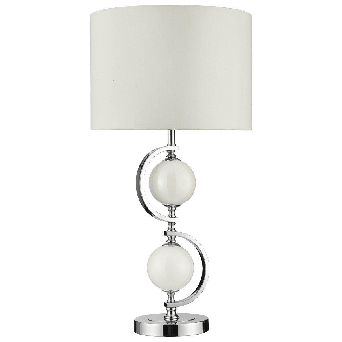 Bellis ii chrome table lamp with clear glass shade 4571cc chrome table lamp with cream glass balls drum shade 1965wh aloadofball Image collections